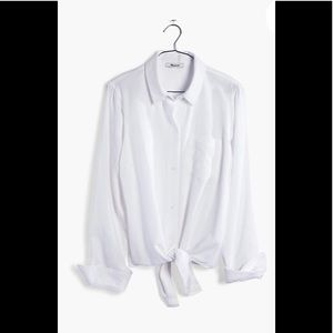 New Madewell tie front shirt white large
